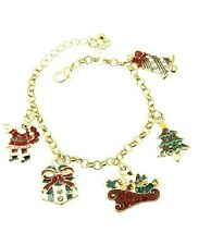 Gold and Multi Colored Charm Christmas Bracelet