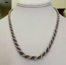 """STERLING SILVER THICK MENS WOMENS GRADUATED BEADED ROPE CHAIN NECKLACE 18.5"""""""