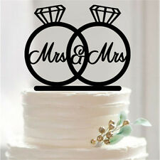 Mrs and Mrs, 2 Rings Cake Topper, Lesbian Wedding Decorations, USA