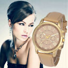 Elegant Women's Bracelet Watch Geneva Roman Numerals Leather Quartz Wrist Watch