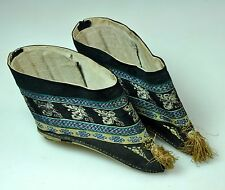 13 CM PAIR ANTIQUE CHINESE CHINA QING EMBROIDERED LOTUS SHOES BLUE 19TH C
