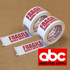 "2 ROLL 2"" FRAGILE PRINED SHIPPING PACKAGING HAL TAPE 330 Feet 110 yards"