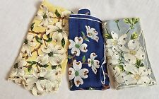 3 Vintage Dogwood Cotton Handkerchiefs Blue Grey Yellow
