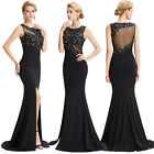 Formal Long Ball Gown Party Prom Beaded Bridesmaid Evening Dress Size UK 4-18