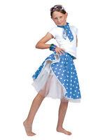 Kids Blue Rock N Roll Skirt & Scarf Fancy Dress Costume Dance 1950s Polka Dot