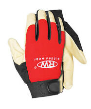 Rugged Wear Mens Hi-Dexterity Red-Beige Grain Pigskin Leather Work/Drive Glove L