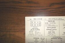 1966 Chevrolet Corvair Turbo Charged 180 HP 164 Supercharged SUN Tune Up Chart