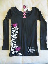 So Cal Women's Love Wings Blk w/Pink Ribbon Long Sleeve Top, NEW w/tags Size S