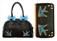 Banned Swallows Bows 50s Rockabilly Handbag & Wallet SET Shoulder Bag Black Blue