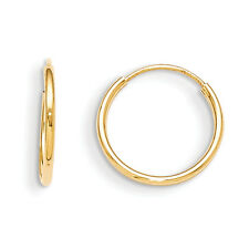 14K Yellow Gold Plain 12mm Endless Hoop Earrings Madi K Children's Jewelry