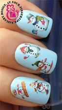 CHRISTMAS GLITTER SNOWMEN NAIL ART WATER TRANSFERS STICKERS DECALS SET  #823