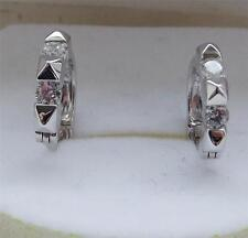 CLEAR DIAMONIQUE 0.4ct ROUND CUT STERLING SILVER HOOP HUGGIE EARRINGS NEW QVC