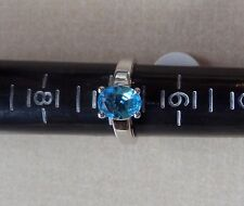 NWT RING Solitaire Oval Cut Aquamarine  Size 7 Sterling Silver .925