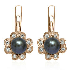 14k Solid Rose Gold Genuine Diamond and Pearl Russian Style Earrings #E1287