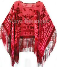 Silk Burnout Velvet Poncho Top Fringe Piano Shawl Wrap True Red Maya Matazaro