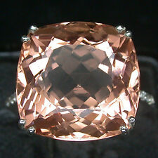 EXCELLENT FIRE PINK PEACH MORGANITE 925 SILVER RING
