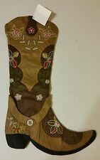 Christmas Holiday Cowboy Western Boot Stocking Red Green Brown