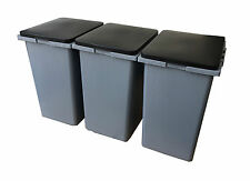 3 x 45 Litre Waste Recycling Laundry Sorting Plastic Bins Boxes + Hinged Lids!