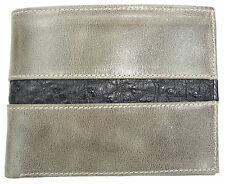 RFID Blocking Vegetable Tanned  CALFSKIN LEATHER WALLET BIFOLD OSTRICH Grey Gray