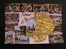 CARTE POSTALE LA SEINE ET MARNE (77) GÉOGRAPHIQUE MULTIVUES CARTE VIERGE