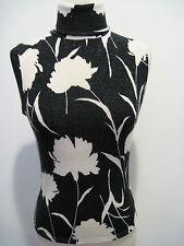 SHARAGANO Paris Sleeveless Black Turtleneck Knit Top Silver Metallic Size 2