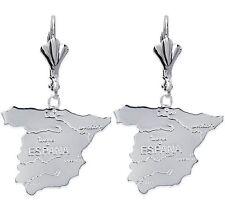 orecchini a monachella Cartina d' SPAGNA Espana in argento Massiccio NUOVO