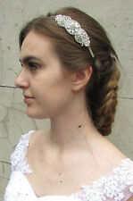 Silver Rhinestone Diamante Headband Bridal Headpiece Alice Band Vintage Hair A84