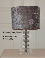 Lampshade Handmade In A Crushed Velvet Silver Grey 20cm Fabric Drum Bespoke New.