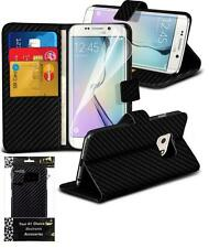 GENUINE INVENTCASE CARBON FIBRE FLIP CASE WALLET COVER SAMSUNG GALAXY S6 EDGE