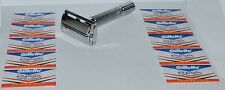 New Butterfly Safety Razor & 10 Wilkinson Sword Blades Twist To Open Old Classic