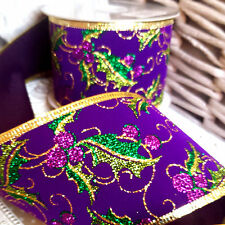 Luxury Purple Velvet & Gold Glitter Holly Christmas Ribbon, Gisela Graham.Tree