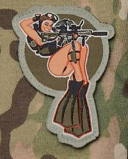 DIVE GIRL PINUP SCUBA PADI HOOK BADGE MILITARY MORALE PATCH - COLOR
