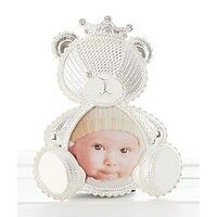 Christening Gift Baby Photo Frame Silver Plated in a Teddy Lace Design