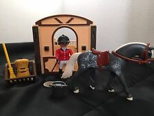 "PLAYMOBIL ~ 5110 4188 4641  ""DUSTY"" HORSE WITH STABLE ~ RED COAT RIDER ~  F6"
