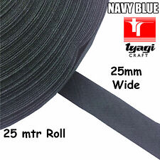 25mtr Roll 25mm Wide BIAS TAPE 100% Cotton NAVY BLUE Trim Edge Binding Webbing
