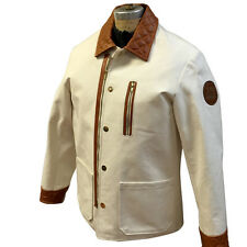 BRAND MEN'S WHITE CANVAS JACKET WITH REAL LEATHER TRIMMING, SIZE L, RETAIL $675