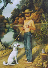 Barefoot Boy with Bamboo pole Dog