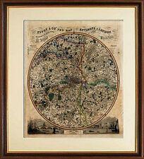 London environs Pigot encadrée réplique carte imprimer 14 miles autour de St. Pauls c1840