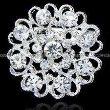 WEDDING BRIDAL SILVER HEART AND FLOWER RHINESTONE DIAMANTE CRYSTAL PIN BROOCH