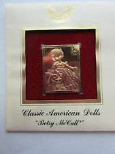 BETSY MCCALL Classic American Doll 22kt Gold Golden replica Cover FDC Stamp