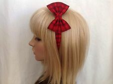 Red plaid checkered headband hair bow rockabilly pin up gothic psychobilly punk