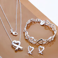 Fashion 925 Silver Kelp Women Accessories Necklace Earrings Earrings Set FS203