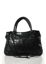 BALENCIAGA Black Leather Pewter Tone Buckle Detail Motorcycle Satchel Handbag