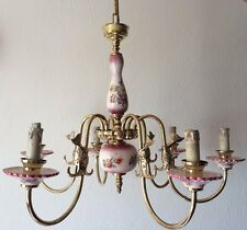Antique French Brass & Porcelain 6 Arm Floral Fish Design Ceiling Chandelier