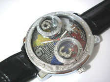 Iced Out Bling Bling Leather Band Map on Dial Men's Watch Silver Item 3680