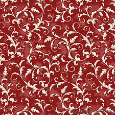 Fabric Poulets de Provence Red All Over Scroll # 25315-RED1 SPX Haskamp