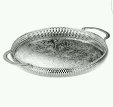 28cm Silver Plated Round Gallery Tray Serving Tray Tarnish Resistant Made In UK