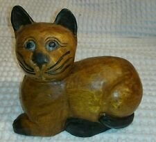 Hand Carved Hand Painted Vintage Wooden Cat Statue Kitten Collectible Figure