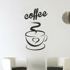 Coffee Cup Heart Kitchen Wall Tea Sticker Vinyl Decal Art Love Decoration DC