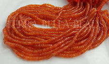 "13"" strand orange CARNELIAN gem stone smooth heishi rondelle beads 3.5mm - 4mm"